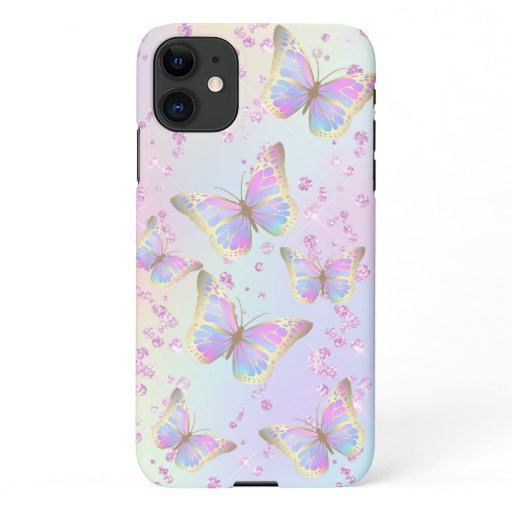 pastel colors butterflies pattern iPhone 11 case