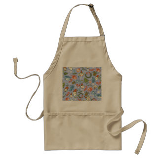 Pastel Colors Christmas Characters Pattern Adult Apron