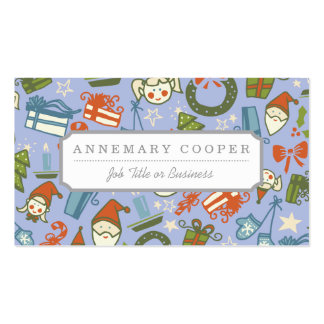 Pastel Colors Christmas Characters Pattern Business Card