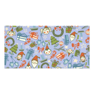 Pastel Colors Christmas Characters Pattern Card