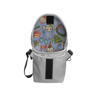 Pastel Colors Christmas Characters Pattern Courier Bag