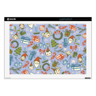 "Pastel Colors Christmas Characters Pattern Decals For 17"" Laptops"