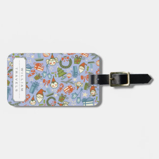 Pastel Colors Christmas Characters Pattern Luggage Tag