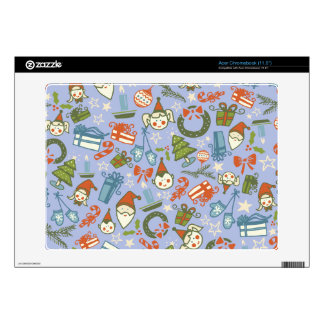Pastel Colors Christmas Characters Pattern Skin For Acer Chromebook