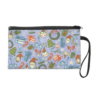 Pastel Colors Christmas Characters Pattern Wristlet