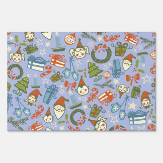 Pastel Colors Christmas Characters Pattern Yard Sign