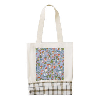 Pastel Colors Christmas Characters Pattern Zazzle HEART Tote Bag