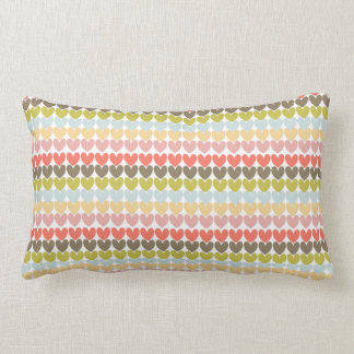 Pastel Colors Ditsy Love Hearts Patterned Design Lumbar Pillow