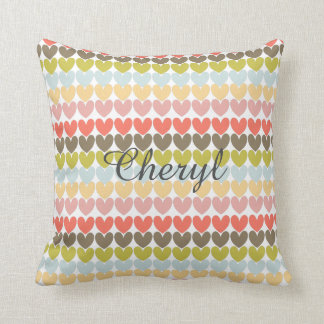 Pastel Colors Ditsy Love Hearts Patterned Design Throw Pillow