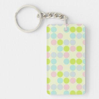 Pastel Colors, Dot Pattern Single-Sided Rectangular Acrylic Keychain