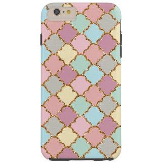 Pastel Colors Faux Gold Quatrefoil Mosaic Pattern Tough iPhone 6 Plus Case