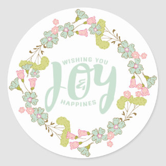 Pastel Colors Floral Wreath Template Classic Round Sticker