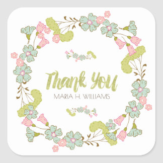 Pastel Colors Floral Wreath Thank You Template Square Sticker