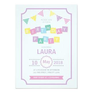 Pastel Colors Kids Birthday Party Invitation