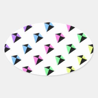 Pastel Colors Kite Pattern Oval Sticker