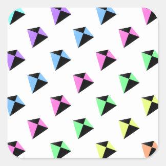 Pastel Colors Kite Pattern Square Sticker