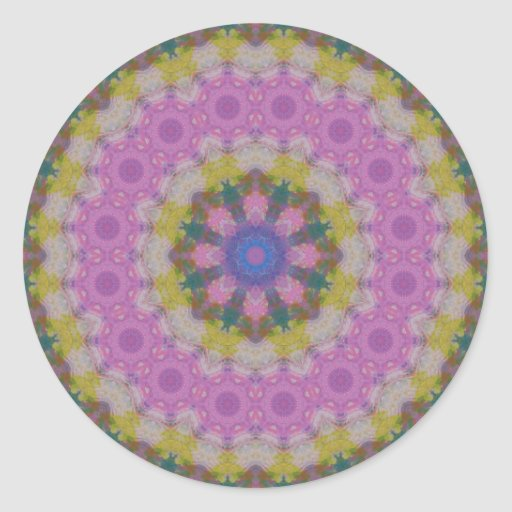 Pastel Colors Mandala Round Stickers