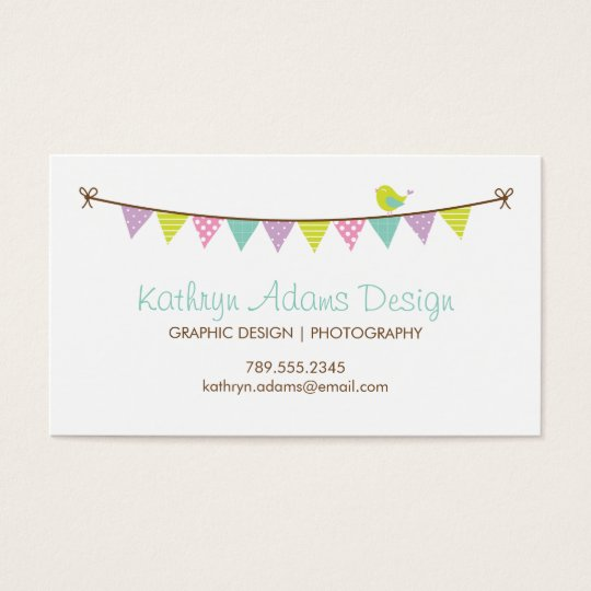 Pastel Colors Patterned Bunting and Cute Bird Business Card