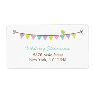 Pastel Colors Patterned Bunting and Cute Bird Label
