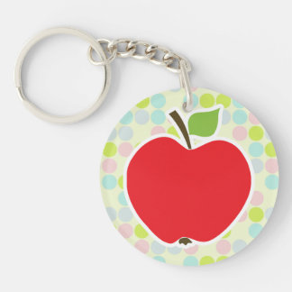 Pastel Colors, Polka Dot; Apple Double-Sided Round Acrylic Keychain