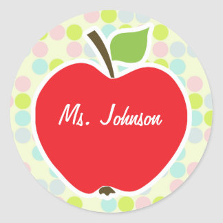 Pastel Colors, Polka Dot; Apple Classic Round Sticker