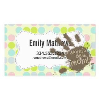 Pastel Colors, Polka Dot; Funny Mom Business Card