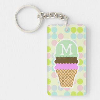 Pastel Colors, Polka Dot; Ice Cream Cone Double-Sided Rectangular Acrylic Keychain