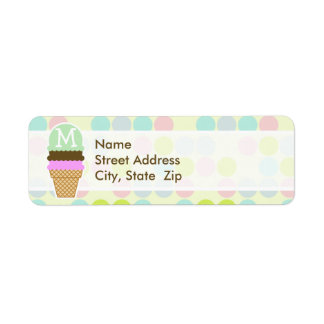 Pastel Colors Polka Dot Ice Cream Cone Labels