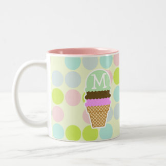 Pastel Colors, Polka Dot; Ice Cream Cone Two-Tone Coffee Mug