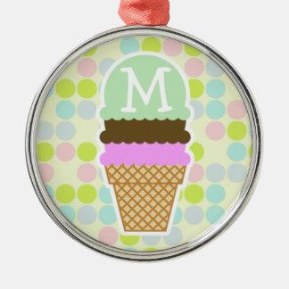 Pastel Colors, Polka Dot; Ice Cream Cone Christmas Tree Ornament