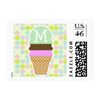 Pastel Colors Polka Dot Ice Cream Cone Stamp