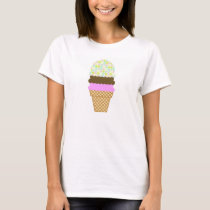 Pastel Colors, Polka Dot; Ice Cream Cone T-Shirt