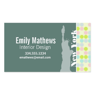 Pastel Colors, Polka Dot, NYC, statue of liberty Business Card Template