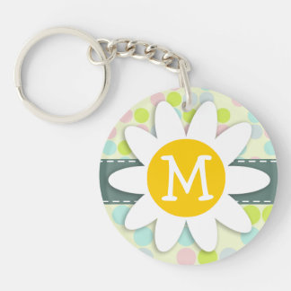 Pastel Colors, Polka Dot; Spring Flower Double-Sided Round Acrylic Keychain