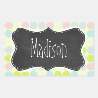 Pastel Colors, Polka Dot; Vintage Chalkboard Rectangular Sticker