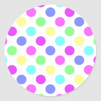 Pastel Colors Polka Dots Classic Round Sticker