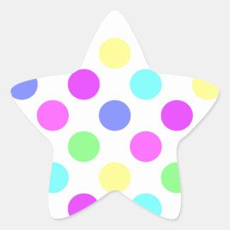 Pastel Colors Polka Dots Star Sticker