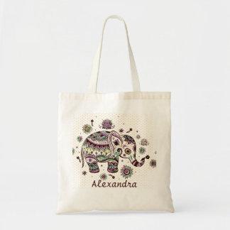 Pastel Colors Retro Flowers & Elephant Budget Tote Bag