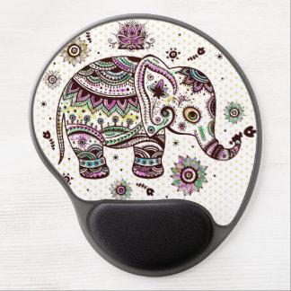 Pastel Colors Retro Flowers & Elephant Gel Mouse Pad