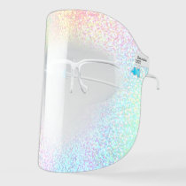 pastel colors simulated glitter face shield