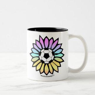 Pastel Colors Soccer Daisy Two-Tone Coffee Mug