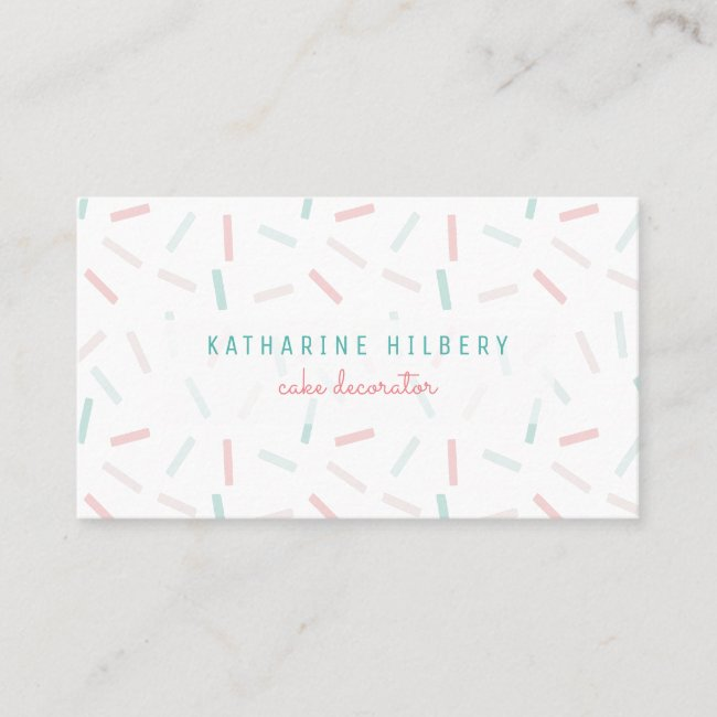 Pastel Colors Sprinkles White Business Card