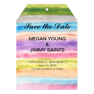 pastel colors watercolor save the date 5x7 paper invitation card