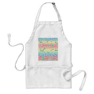 Pastel Colors Whimsical Ikat Floral Doodle Pattern Adult Apron