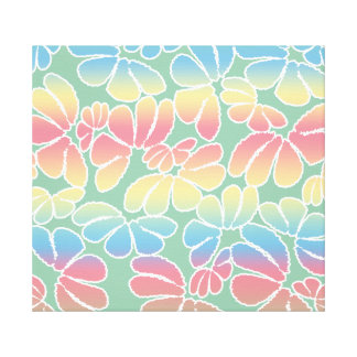 Pastel Colors Whimsical Ikat Floral Doodle Pattern Canvas Print