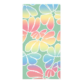Pastel Colors Whimsical Ikat Floral Doodle Pattern Card