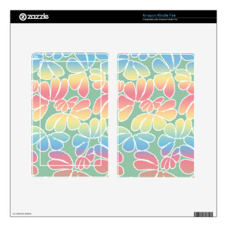 Pastel Colors Whimsical Ikat Floral Doodle Pattern Kindle Fire Decal