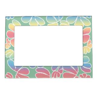 Pastel Colors Whimsical Ikat Floral Doodle Pattern Magnetic Photo Frame