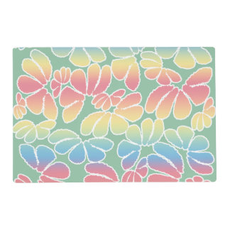 Pastel Colors Whimsical Ikat Floral Doodle Pattern Placemat