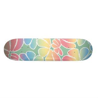 Pastel Colors Whimsical Ikat Floral Doodle Pattern Skateboard Deck